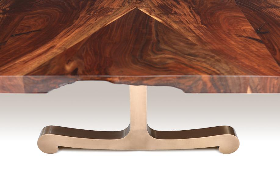 Raw walnut dining table
