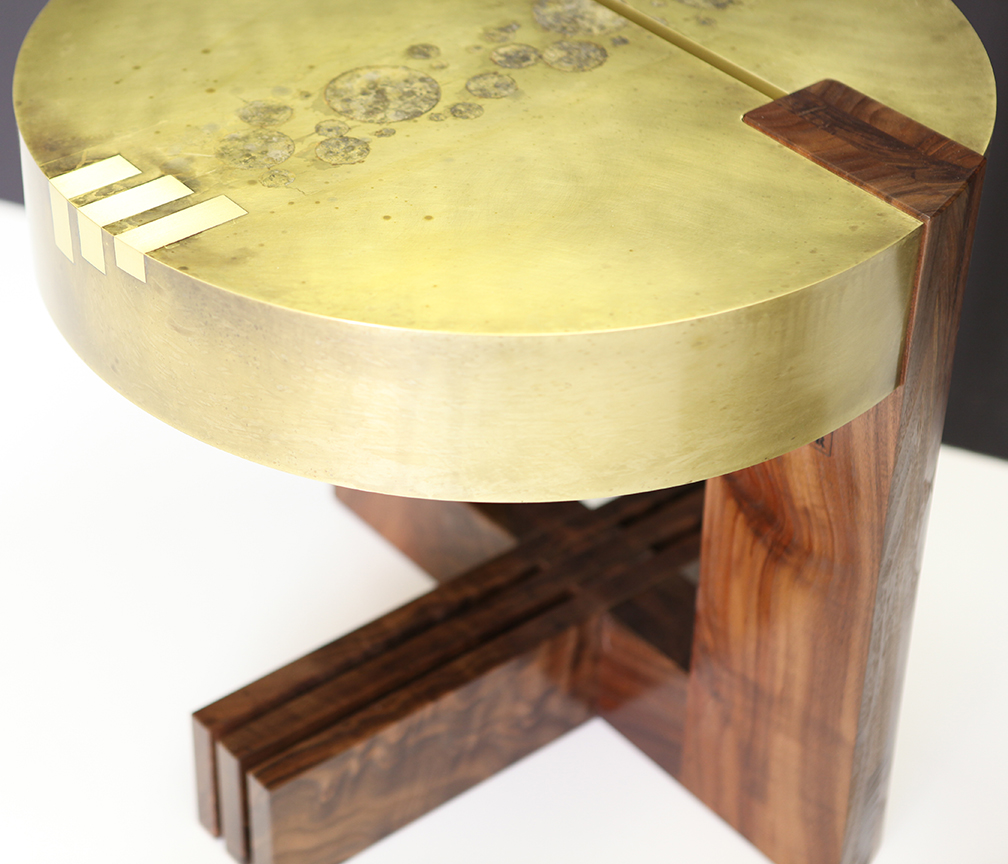 Solid etched brass table