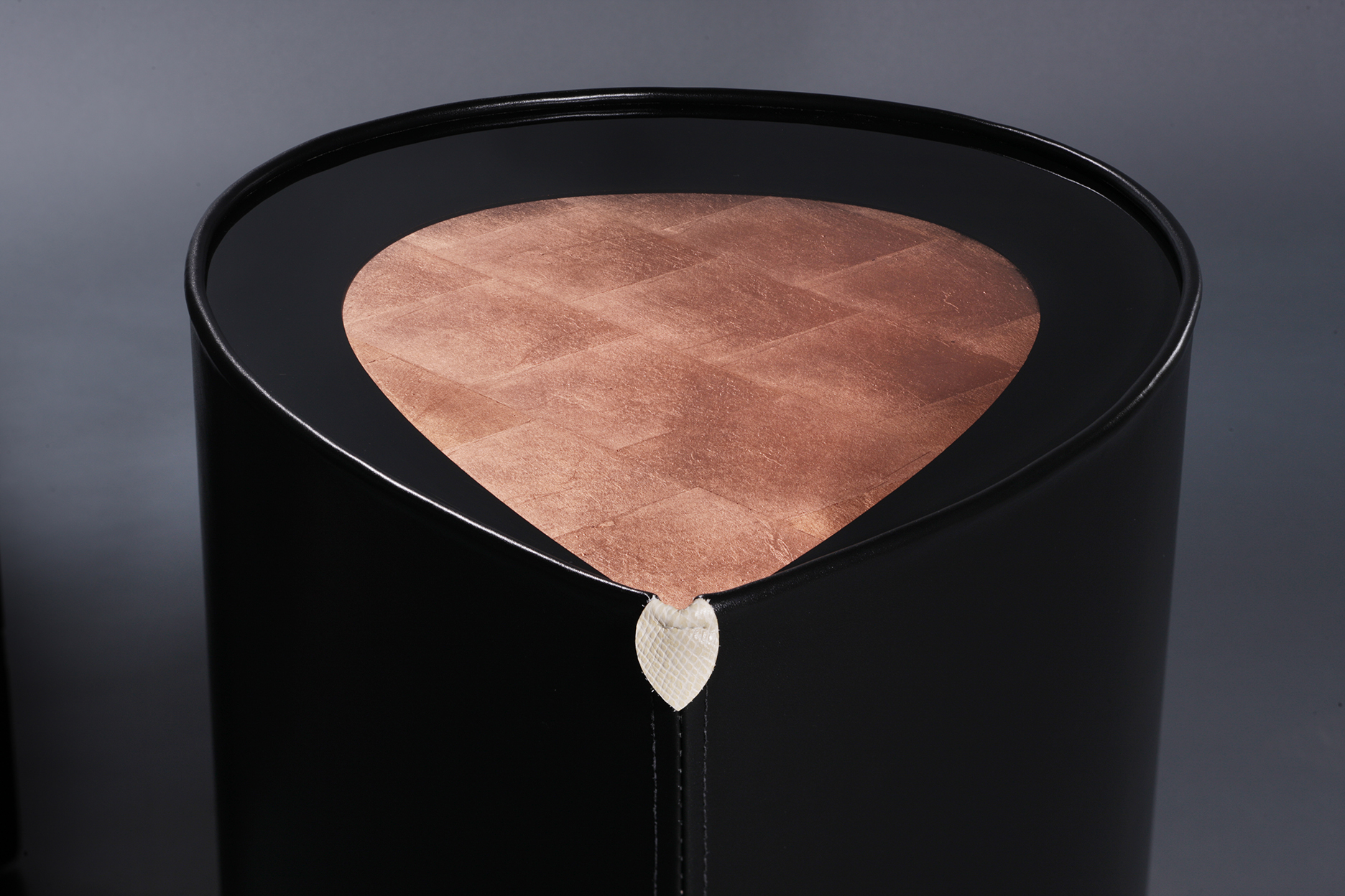 Black copper leaf side table
