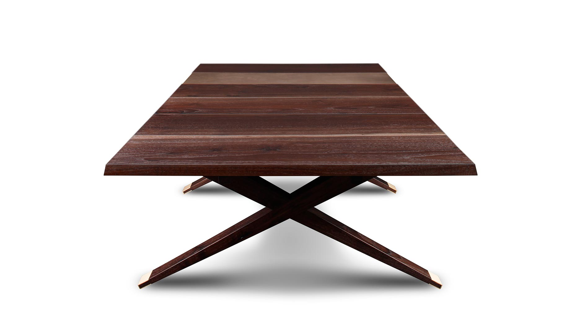 Smoked walnut and bronze table