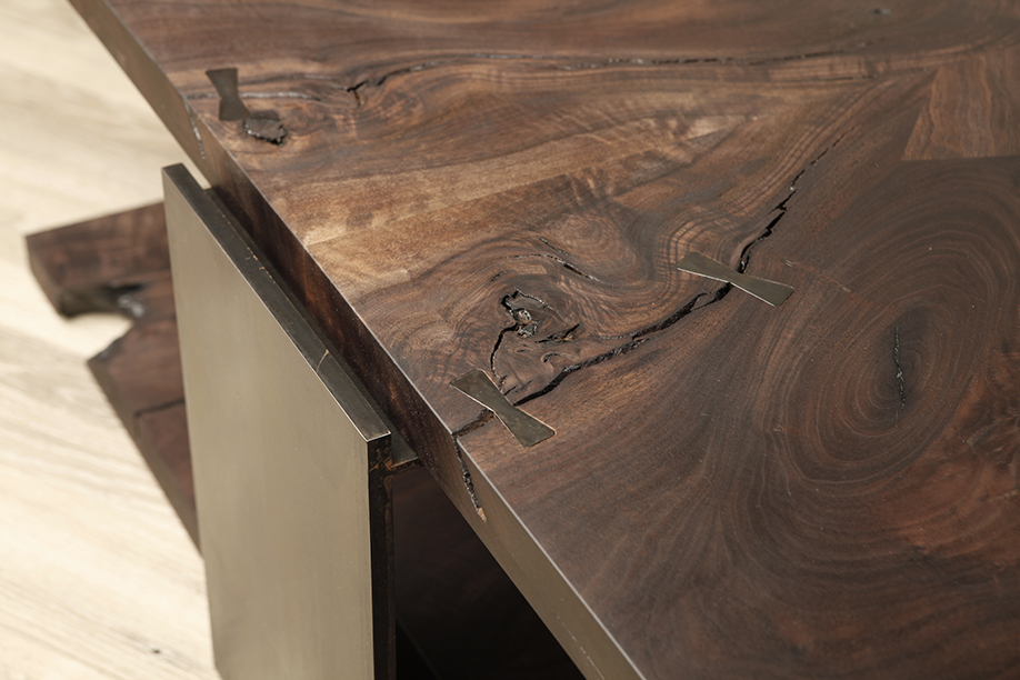walnut and blackened steel table
