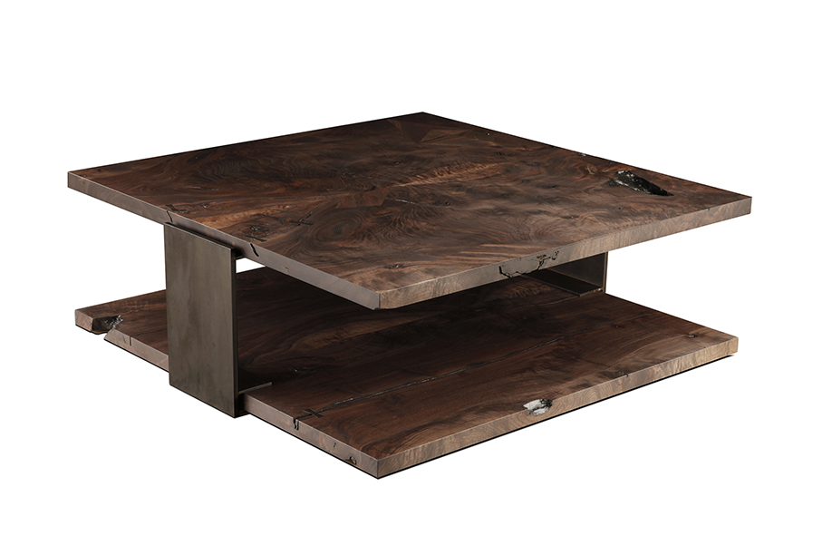 walnut and blackened steel coffee table