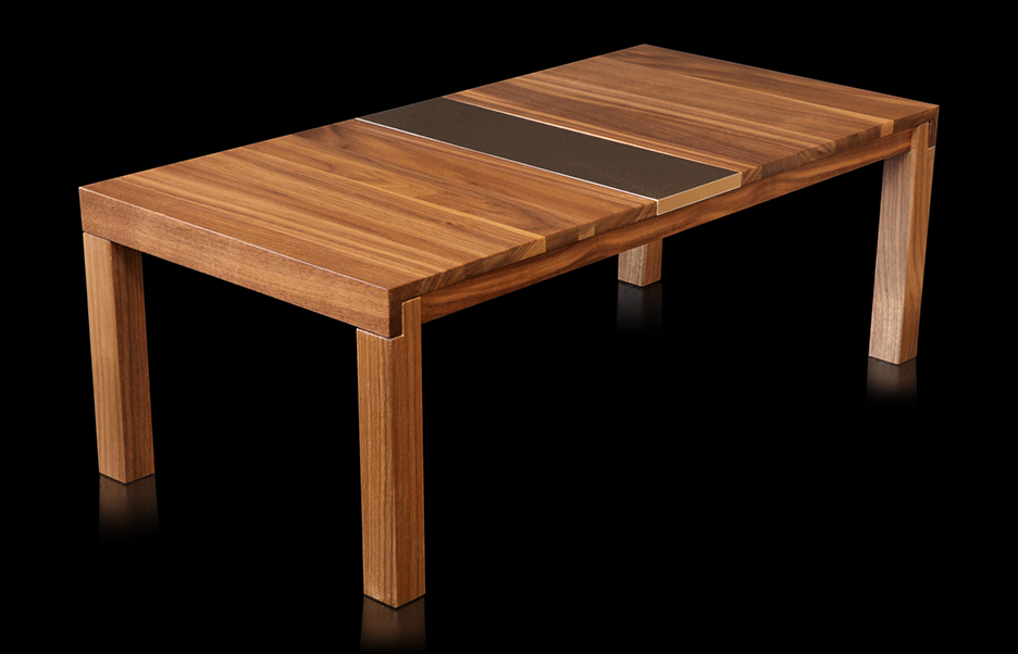 Bronze and walnut table