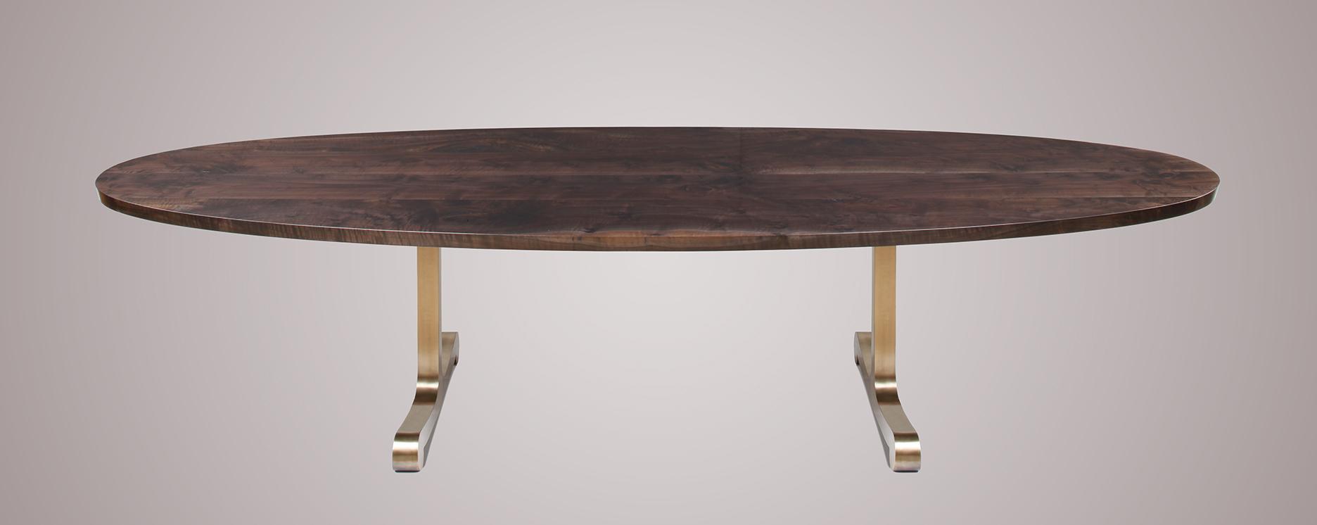 Oval walnut dining table